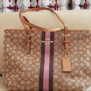 Coach Jacquard Signature Stripe Zip Top Tote